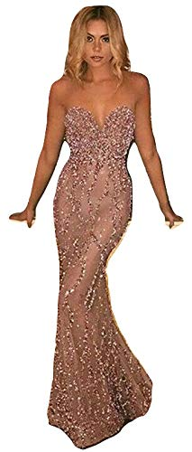New Pink Glitter Long Prom Dress Gown Robe Party Dress Evening Dress Formal Cruise Dinner Dress Dance Wear Prom Dress Wedding Dress Size UK 6-8 Bargain Dress for /£20
