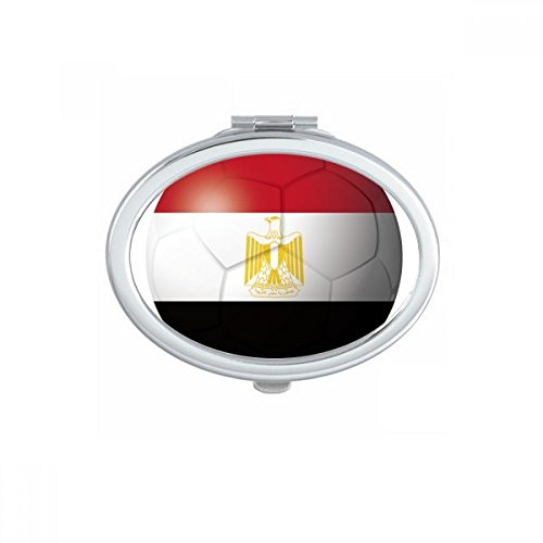 DIYthinker Egypt National Flag Soccer Football Oval Compact Makeup Mirror Portable Cute Hand Pocket Mirrors Gift by DIYthinker