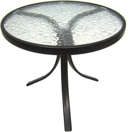 - Mainstays Round Outdoor Glass Top Side Table