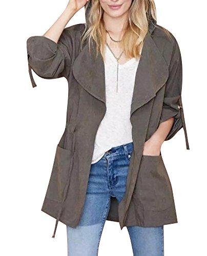 Minetom Femmes Loose Cardigan Veste Revers Lache Blazer Manche Longue Trench Coat Veste Manteaux Gris