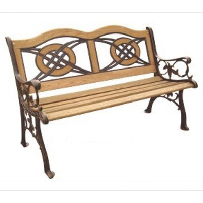 DC America SL5780CO-BR Kokomo Wood Inlay Park Bench, Cast Iron Frame and Hardwood Slats, Rust Resistant Bronze Finish by D C America
