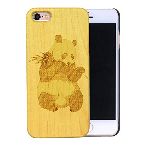 Real Wooden Back Cover Unique Natural Solid Wood Engraving Pattern Half Bumper TPU Protective Wooden case for iPhone5/ SE 6S iPhone 6SPlus iPhone7 7 Plus (Maple Panda, iPhone 5/SE 4'')