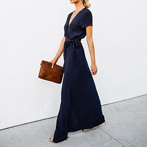 Maxi Bandage Schlitz Kleid für Frau Uni Lang Sun Kleider Casual ...