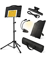 Donner Sheet Music Stand with Light, DMS-1 Portable Metal Ipad Music Stand, Tabletop Music Book Stand for Guitar, Ukulele, Violin Players