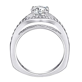 1.50 Ct Round Cut Simulated Diamond Wedding Band Engagement Ring Set 925 Sterling Silver