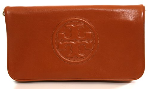 Tory Burch Leather Bombe Reva Clutch Shoulder Bag Luggage - Burch Brown Tory Bag