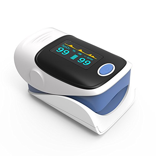 Fingertip Pulse Oximeter Blood Oxygen Monitor Heart Rate Monitor with Case and Lanyard Yonker YK-80 - Blue