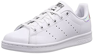 adidas Boys' Stan Smith Shoes, Footwear White/Metallic Silver-Sld/Footwear White, 3.5 US (3.5 AU)