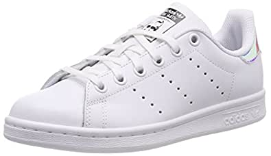 adidas Boys' Stan Smith Shoes, Footwear White/Metallic Silver-Sld/Footwear White, 3.5 US (3.5 AU)