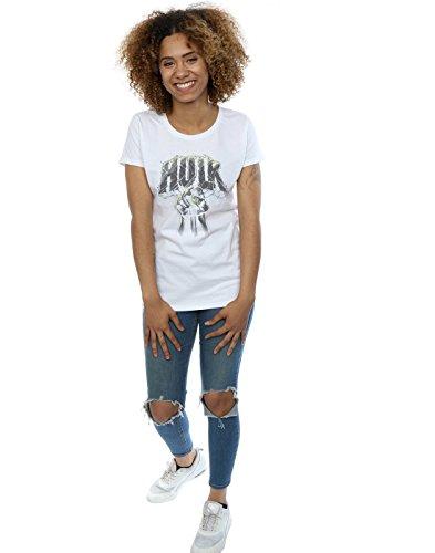 Marvel Damen Hulk Punch Logo T-Shirt Weiß zYiXRpN