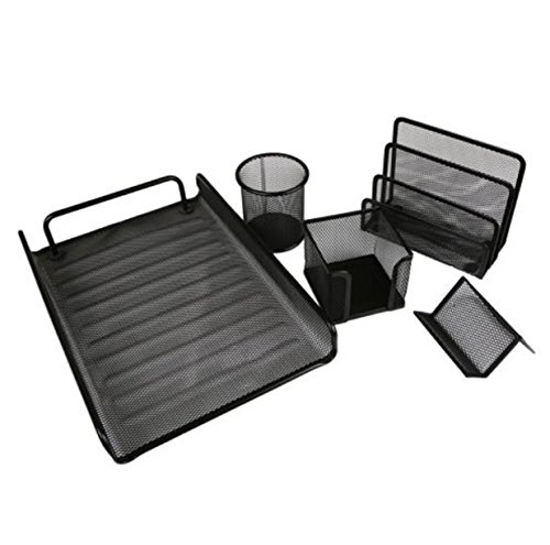 5 PCS Suppliers Office Floder Desk File Set Organizer Tool Mesh Tray Metal File Pencil Holder (Cute Halloween Print Outs)
