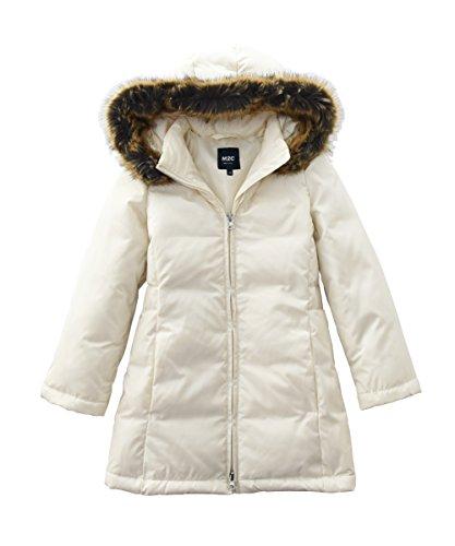 Fur Trim Long Hooded Coat (M2C Girls Faux Fur Hooded Long Puffer Duck Down Jacket Parka 8/9 White)