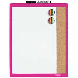 Quartet Magnetic Combination Board, 11 x 14 Inches, Dry-Erase and Cork, Pink Frame (79363-PK)