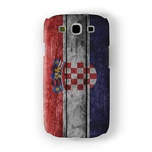 Grunge Wood Flag of Croatia - Croatian Flag Funda Completa de Alta Calidad con Impresión 3D, Snap-On, Diseño Negro Formato Duro parar Samsung® Galaxy S3 de UltraFlags