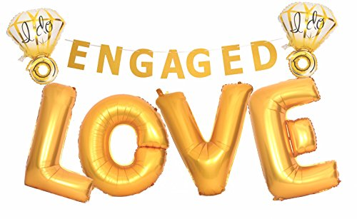 Engagement Party Decorations, Engagement Party Supplies, Love (40 Inch) and I do Diamond Ring (27 Inch) Extra Large Balloons, Gold Glitter Engaged Banner, Engagement or Wedding Party Decorations