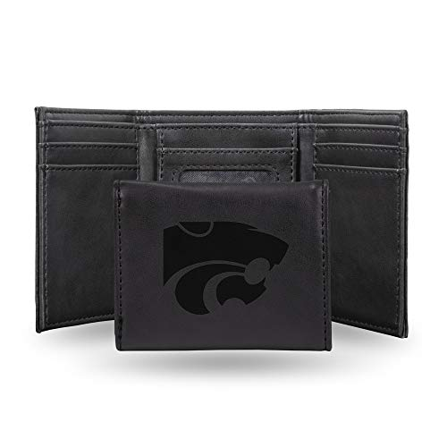 Rico Industries NCAA Kansas State Wildcats Laser Engraved Tri-Fold Wallet, Black