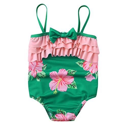 Baby Girls Summer Swimsuit Ruffle Layered Bow Floral Print Romper Halter Bikini Swimwear (Green, Recommended Age:12-18 Months)
