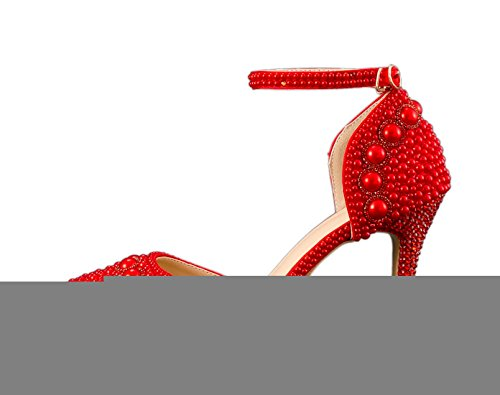 Minitoo Women's Pointed Toe Ankle Strap Beading Wedding Special Occasion Shoes Red-9cm Heel yVcPNkI2sl