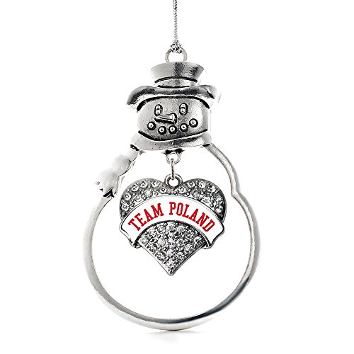 (Inspired Silver - Team Poland Charm Ornament - Silver Pave Heart Charm Snowman Ornament with Cubic Zirconia Jewelry)