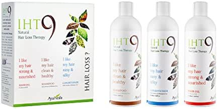 IHT9 Anti-Hair Loss Treatment Kit – Shampoo, Oil, and Conditioner for Treating Damaged Hair, 3 x 200ml Each Hair Care