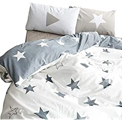 BuLuTu Kids Bedroom Five-Pointed Stars Reversible Cotton Kids Duvet Cover Sets Twin Grey/White Bedding Cover with 2 Pillowcases,Gifts for Men,Women,Children,Boys,Girls,Friend,Family,NO Comforter