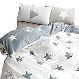BuLuTu Kids Bedroom Five-Pointed Stars Reversible Cotton Kids Duvet Cover Sets Twin Grey/White Bedding Cover 2 Pillowcases,Gifts Men,Women,Children,Boys,Girls,Friend,Family,No Comforter