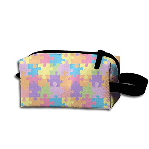 Makeup Cosmetic Bag Colorful Jigsaws Zip Travel Portable Storage Pouch For Mens Womens
