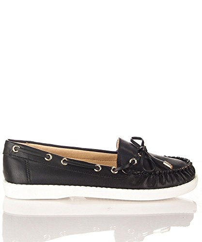 Nature Breeze Womens Round Toe Slip On Boat Shoes Flats Black Pu XAS38
