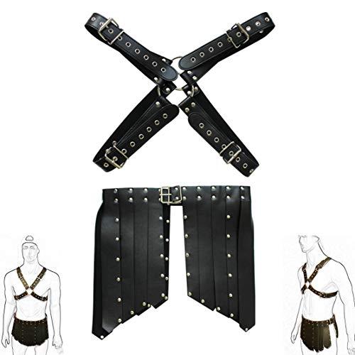Agoky Men's Roman Gladiator Costume X Shape Body Chest Harness Buckles Pleated Kilt Skirt Fancy Dress Up Black -