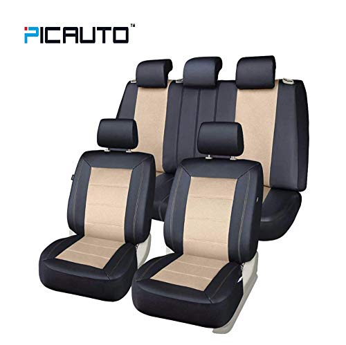 Beige Leather Set - PIC AUTO Universal Fit Full Set Mesh and Leather Car Seat Cover(Beige)
