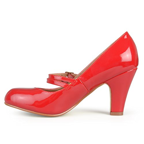 Journee Women Mary Jane Escarpins En Faux Cuir Rouge Patent Mary Jane