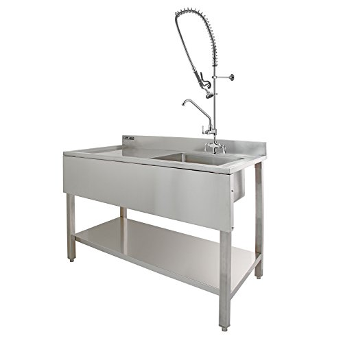 KuKoo Commercial Kitchen Catering Sink & Pre-Rinse Mixer Tap, LH ...