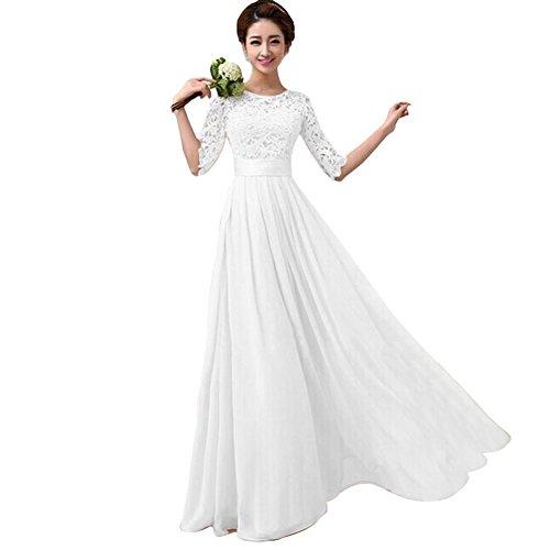 Tenflyer Elegant Women Long Sleeve Gown Party Long Dress (XXL, White)