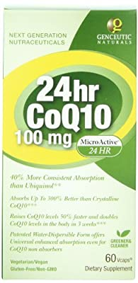 Genceutic Naturals 24 Hr Microactive CoQ10 Herbal Supplement 100 Mg, 60-Count