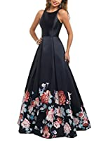 YSMei Women's Vintage Floral Print Long Prom Dress A line Evening Dress YFP03