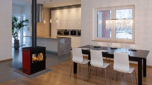 Supreme Fireplaces Vision See-Thru Wood Burning Stove in Metallic Black with Mojave Red