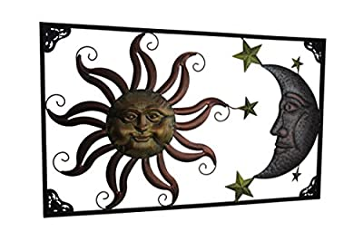 Metal Wall Sculptures Tri-Tone Celestial Sun Moon And Stars Indoor/Outdoor Metal Wall Art 30 X 18.25 X 0.38 Inches Copper