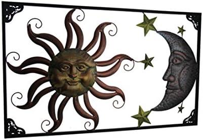 Zeckos Triple Tone Celestial Sun Moon and Stars Indoor Outdoor Metal Wall Art