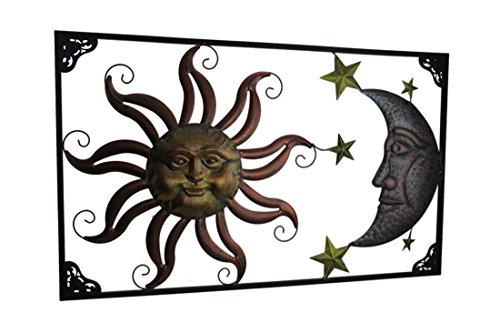Zeckos Tri-Tone Celestial Sun Moon and Stars Indoor/Outdoor Metal Wall Art - Face Moon Wall Art