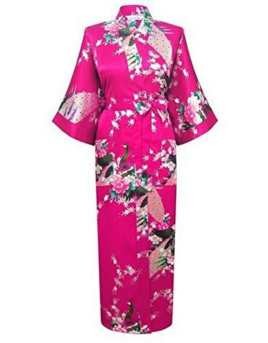 Silk Robe Kimono, High Fashion White Silk Kimono Robe Gown Chinese Style Women Sleepwear Long Sexy Nightgown Flower M