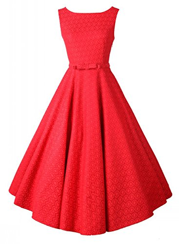 Anni Coco Women's 1950s Audrey Hepburn Lace Crochet Vintage Evening Dress Red Large