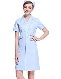 XinAndy Women's Blue Scrubs Lab Coat Short sleeves