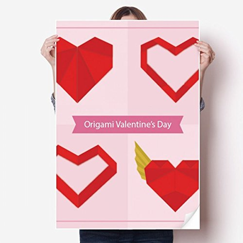 DIYthinker Red Abstract Christmas Heart Origami Vinyl Wall Sticker Poster Mural Wallpaper Room Decal - 80 Origami
