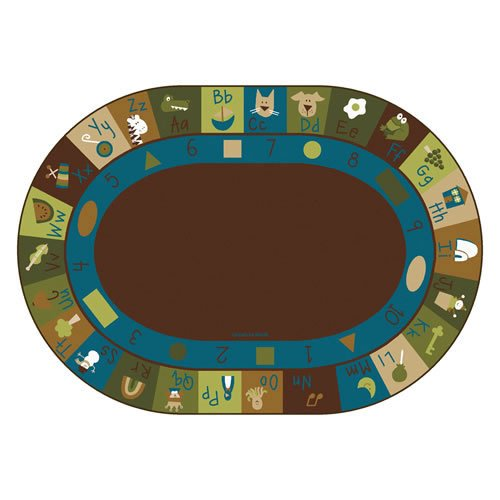 Carpets for Kids 37706 Learning Blocks Nature Kids Rug Size: Oval 6' x 9' 6' x 9' , 6' x 9' , Brown