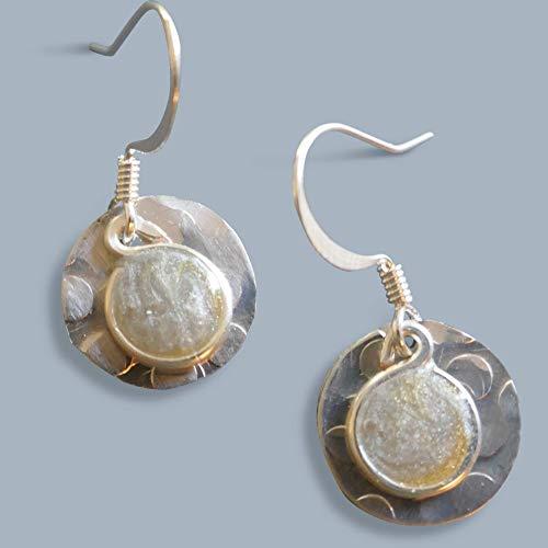 Handmade Lightweight Little Silver Gold 2 Tone Round Womens Dangle Earrings Beads by Bettina ()