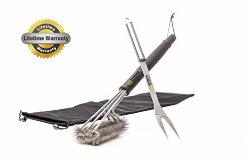 Commercial Series Grill Infrared (BBQ Grill Brush + Stainless Steel Fork By Home Supreme Products,18