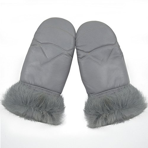 Yosang Lady Warm Mittens Soft Nappa Leather Glove Finger Liner Grey