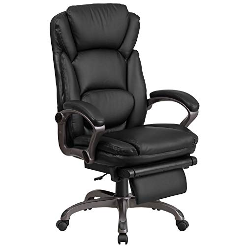 High Back Black Leather Executive Reclining Ergonomic Swivel Office Chair with Outer Lumbar Cushion and - Cushion Chair Arm Reclining