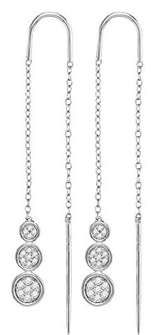 10kt White Gold Womens Round Diamond Triple Circle Cluster Threader Earrings 1/8 Cttw (I2-I3 clarity; J-K - Diamond Triple Circle Earrings