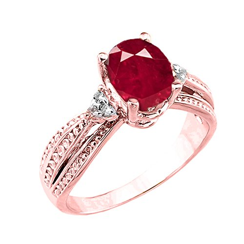 Fancy 10k Rose Gold Diamond Band Oval Ruby Engagement Ring (Size 6) -